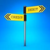 Debet oder Kredit. Konzept der Wahl. Stockbilder