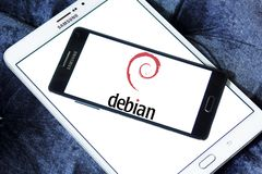 Debian computer operating system logo. Logo of Debian company on samsung mobile. Debian is a Unix-like computer operating system that is composed entirely of Royalty Free Stock Photo