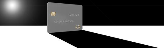 A debit card casts a shadow in this minimalist image with limited color mixed with grey, blacks and whites. This is an illustration royalty free illustration
