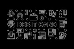 Debit Card concept outline illustration. Vector banner. Debit Card concept horizontal illustration in thin line style. Vector white banner on dark background vector illustration