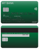Debit Card Detail Green. Front and back of green debit card design with detail isolated on a white background vector illustration
