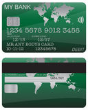 Debit Card Green World Map. Front and back of a green world map debit card design with detail isolated on a white background stock illustration