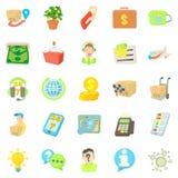 Debit card icons set, cartoon style Stock Image