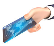 Debit Card Indicates Business Person And Bank 3d Rendering. Credit Card Representing Business Person And Trade 3d Rendering Stock Image