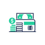 Debit Card - modern vector line design icon. Debit Card - modern vector single line design icon. An isolated item of the banking system, microchip, green color Stock Photos