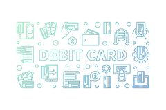 Debit Card outline colored horizontal illustration. Vector banner. Debit Card outline concept colored horizontal illustration. Vector banner on white background vector illustration