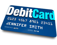 Debit Card Plastic Bank Charge Banking Account. A blue Debit Card to present at a store when purchasing merchandise and have the merchant withdraw money from Stock Images