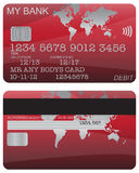 Debit Card Red World Map. Front and back of a red world map debit card design with detail isolated on a white background vector illustration