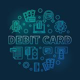 Debit Card vector round blue outline illustration. Debit Card vector concept round blue outline illustration on dark background vector illustration