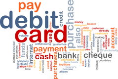 Debit card word cloud. Word cloud concept illustration of debit card Stock Image
