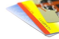 Debit cards. Colored different debit credit cards royalty free stock photo
