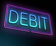 Debit concept. Illustration depicting an illuminated neon sign with a debit concept royalty free illustration