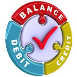 Debit, credit, balance. The check mark in the form of a puzzle Royalty Free Stock Photography