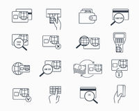 Debit and credit card payment icons. Safe electronic banking outline vector icon set Royalty Free Stock Photos