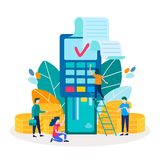 Debit credit card into POS point of sales terminal. Purchases, payments, online transfers the Internet. Vector illustration for social media, web design royalty free illustration