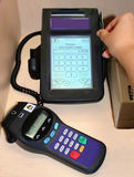 Debit terminal. Swiping debit card on terminal royalty free stock images