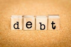 Debito - concetti del bollo di alfabeto Fotografie Stock Libere da Diritti