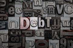 Debito dello scritto tipografico Immagini Stock
