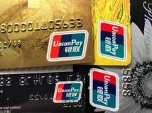 Debito di paga del sindacato e carta di credito immagini stock libere da diritti