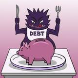 Debito e porcellino salvadanaio. Fotografia Stock