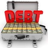 Debito enorme Valigia in pieno di soldi illustrazione vettoriale