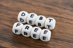 Debito libero/concetto di affari per libertà finanziaria della moneta scritturale immagine stock