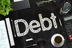 Debito - testo sulla lavagna nera rappresentazione 3d Fotografia Stock Libera da Diritti