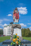 Deblin, Poland - April 19, 2017: Statue of Jesus Christ near Catolic church of Pope Saint Pius V Bishop of Rome. Royalty Free Stock Image