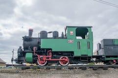 Deblin Polen - April 20, 2017: Ångalokomotiv Rys T49-112 på den Deblin järnvägsstationen smal järnväg för gauge Arkivfoto