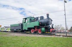 Deblin Polen - April 20, 2017: Ångalokomotiv Rys T49-112 på den Deblin järnvägsstationen smal järnväg för gauge Royaltyfri Foto