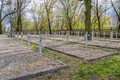 Deblin Polen - April 19, 2017: Kors på krigkyrkogården Ballona i Deblin Fotografering för Bildbyråer