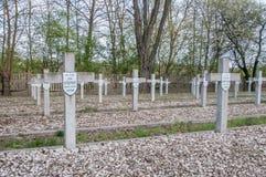 Deblin Polen - April 19, 2017: Kors på krigkyrkogården Ballona i Deblin Royaltyfri Fotografi