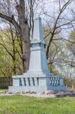 Deblin Polen - April 19, 2017: Monument på krigkyrkogården Ballona i Deblin Arkivbilder