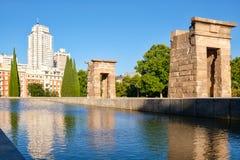 Debod埃及寺庙在中央马德里 库存照片