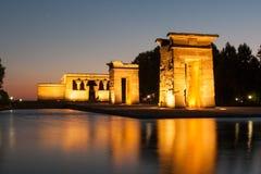Debod寺庙在日落的马德里 免版税库存图片