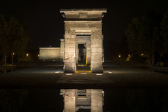 Debod寺庙在晚上 图库摄影