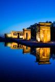 Debod寺庙在蓝色小时,马德里 库存照片
