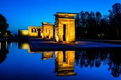 Debod寺庙在蓝色小时,马德里 免版税图库摄影