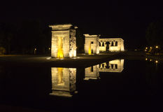 Debod's Temple at night. Night view of Debod's Temple in Madrid, Spain Royalty Free Stock Photos