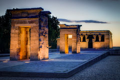 Debod Sunset. Sunset at the Debod Temple in Madrid, Spain Royalty Free Stock Photography