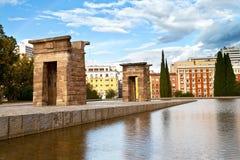 Debod tempel i Madrid Arkivfoto