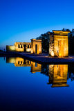 Debod temple at blue hour, madrid Stock Photo