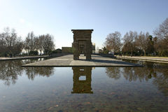 Debod Temple in Madrid. Mirror of Debod Temple in Madrid, Spain Royalty Free Stock Photo