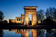 Debod temple. In Madrid at night Stock Photo