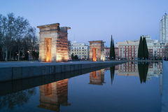 Debod temple. In Madrid at night Royalty Free Stock Photos