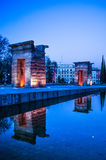 Debod temple. In Madrid at night Stock Image