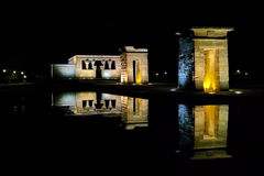 Debod Temple. Strolling through Madrid One day moonless Stock Photo