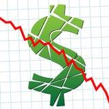 Debole ha rotto i soldi di valuta degli Stati Uniti del dollaro Fotografia Stock Libera da Diritti