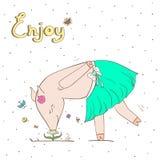 Debonair świnia również zwrócić corel ilustracji wektora Zdjęcie Royalty Free