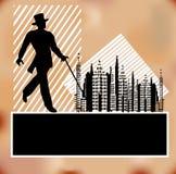 Debonair City. Background Illustration with a Debonair man against a city skyline with a 1930's feel vector illustration